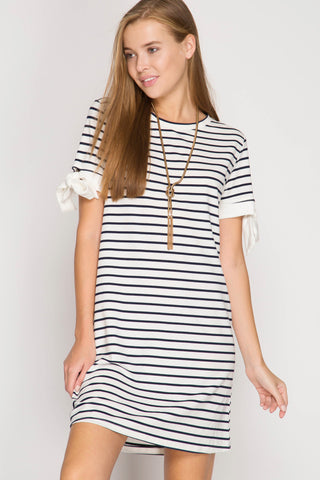 Sassy Striped Dress with Sleeve Contrast
