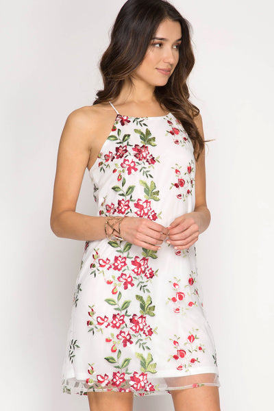 Fabulous Floral Embroidery Shift Dress