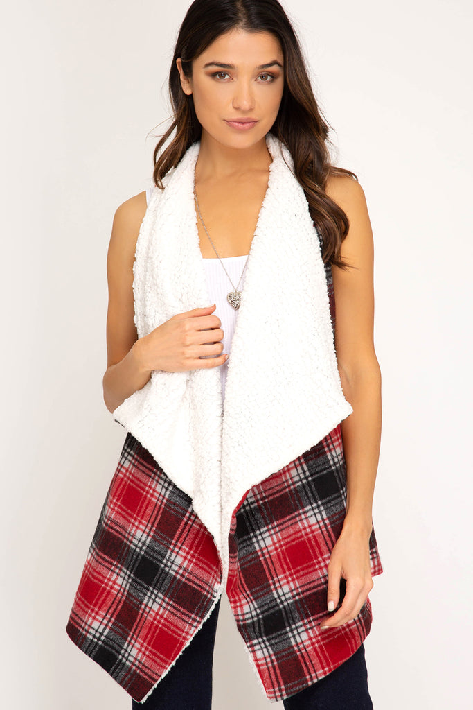Plaid Vest with Fur Lining