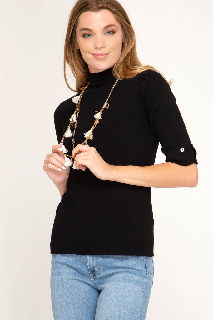 Half Sleeve MockNeck Sweater Top