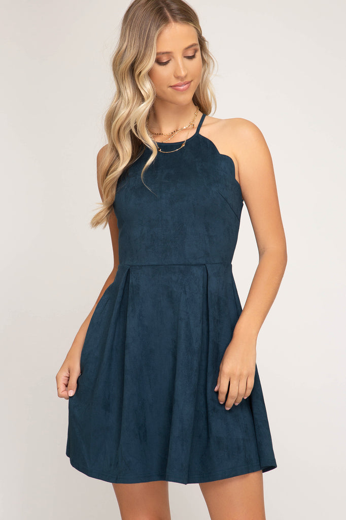 Scalloped Sweetheart Suede Dress