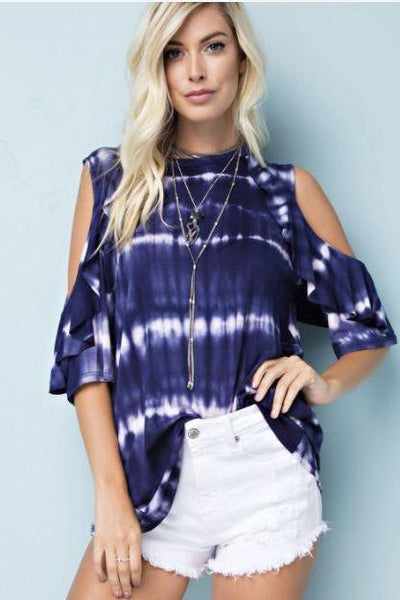Totally Tie Dye Cold Shoulder Top