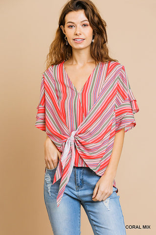 Cute in Coral Striped Top