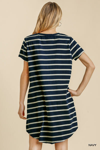 Navy Striped Dress with Pockets
