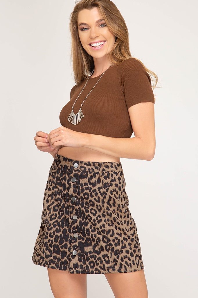 Suede Leopard Print Skirt