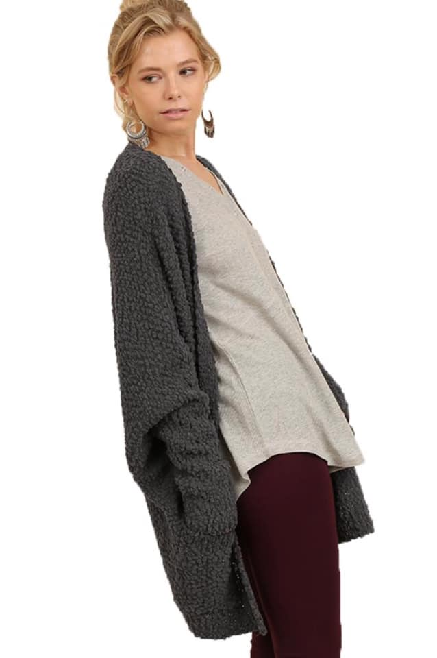 Open Front Oversized Cardigan with Pockets
