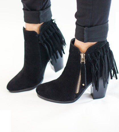 Gail Fringe Bootie in Tan and Black