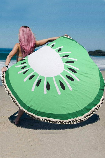 Lime Round Beach Towel