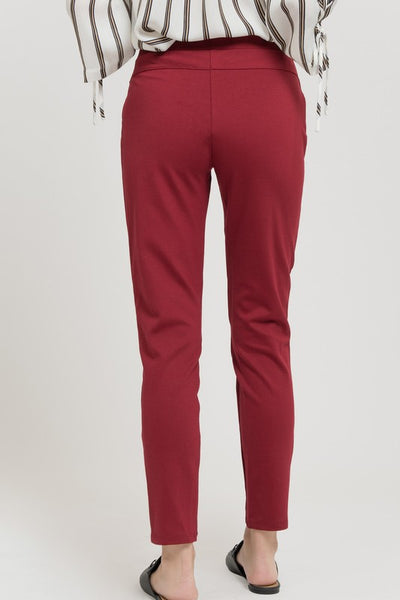 Burgundy leggings with zipper pockets