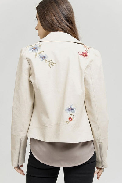 Embroidered Moto Jacket