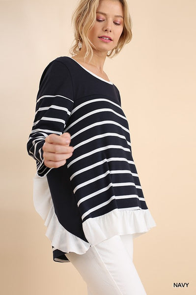 Ruffled by the Stripes Top - Navy