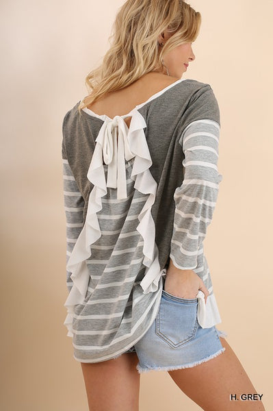 Ruffled by the Stripes Top - Heather Grey