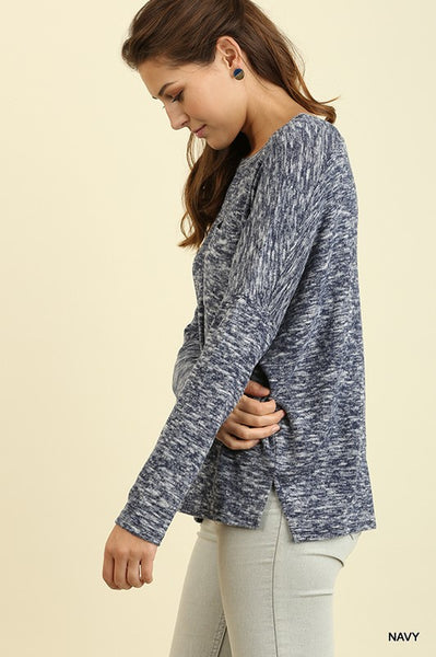 Marled Navy Top