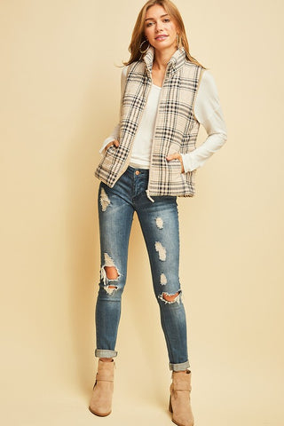 Tell Me about Taupe Plaid Vest