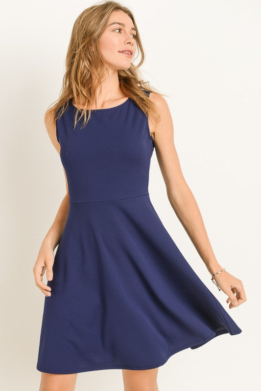 Fit and Flare Navy Dress