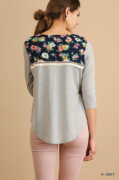 Heather Gray and Floral Top