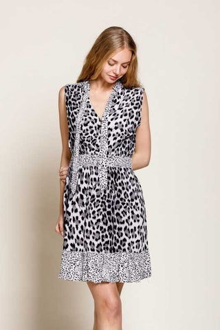 leopard black sleeveless dres