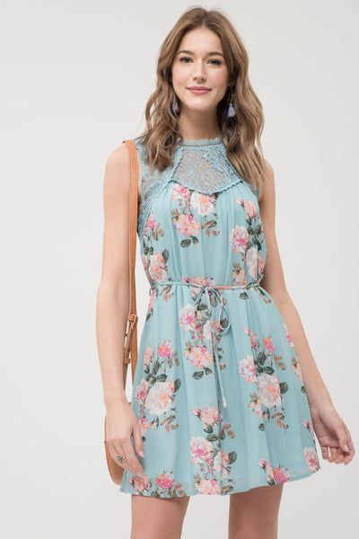 Lace and Floral Print Dress
