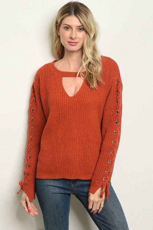 Beauty in Brick Lace-up Sweater