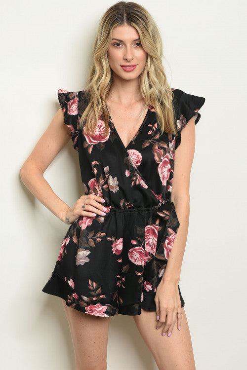 Beauty in Black Floral Romper