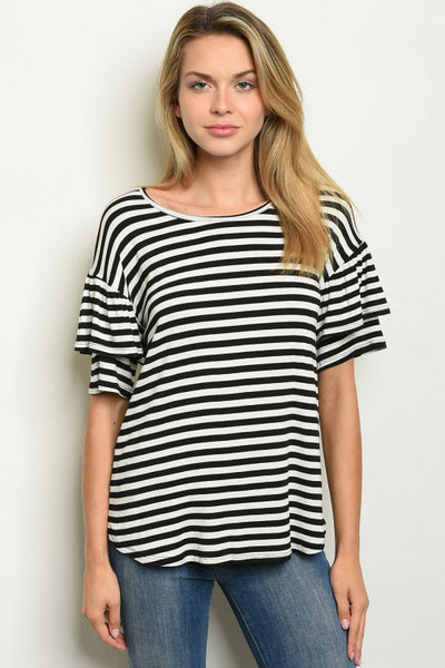 Black and Bells Striped Top