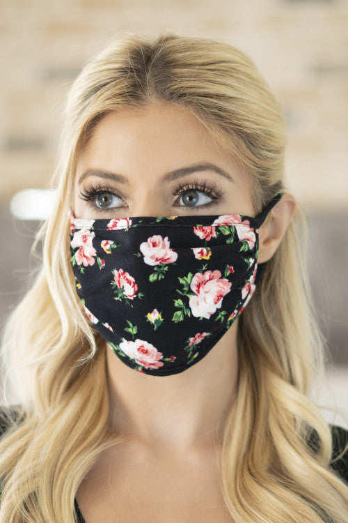 black floral print face mask
