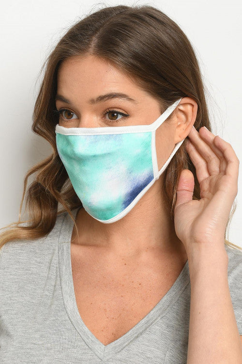 Blue Multi Shades Tie Dye Reusable Face Mask