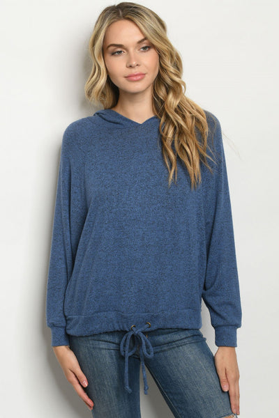 Blue Hooded Lounge Top