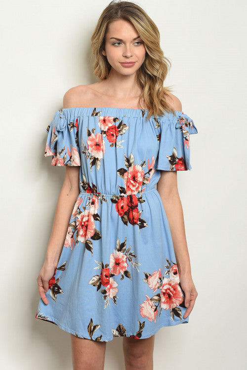 Blue Floral Off Shoulder Dress