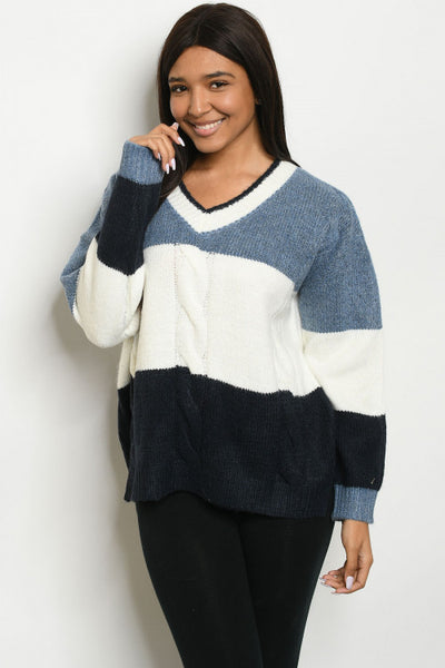 Cozy Colorblock Sweater - Blue and Ivory