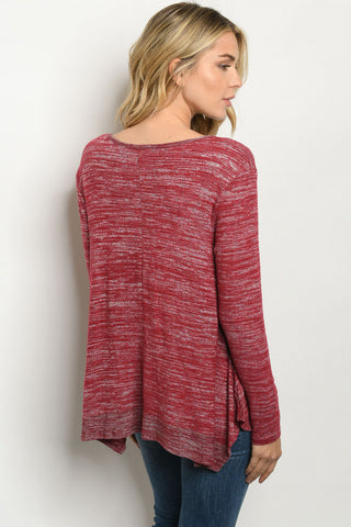 Heathered Burgundy Top Back View