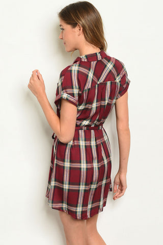 Button Down Burgundy Plaid Dress