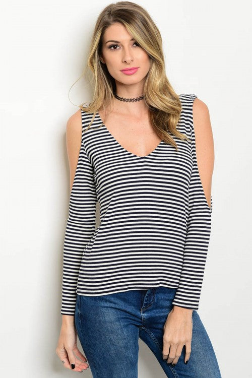 Nautical Striped Cold Shoulder Top