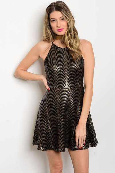 Black and Gold Sparkle Dress