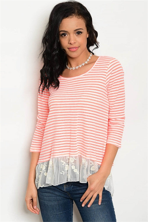 Love me in Lace Orange Striped Top