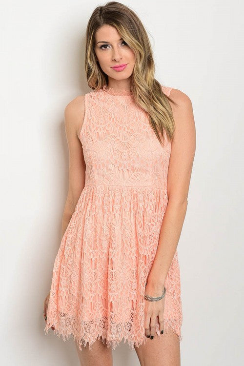 Peach Perfection Lace Dress
