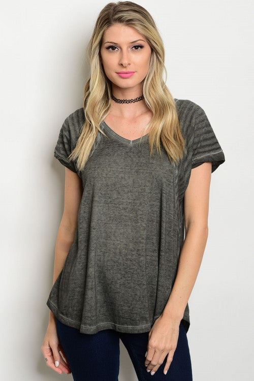 Charming in Charcoal Knit Top