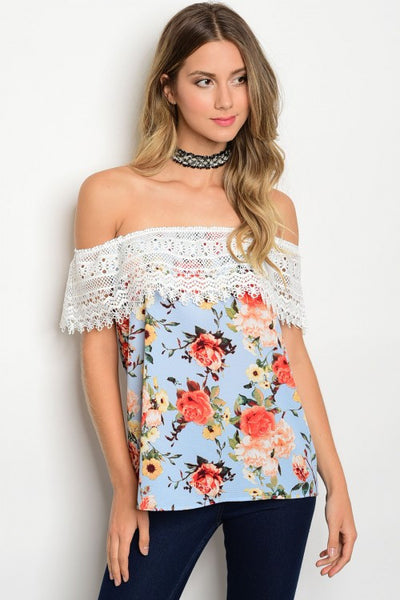 A Day in the Park Blue Off Shoulder Top