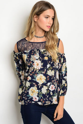 Lace N Navy Cold Shoulder Top