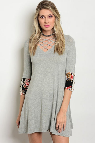 Gotcha in Grey Knit Dress