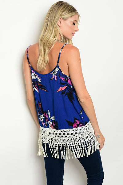 Royal and Lace Fringe Top