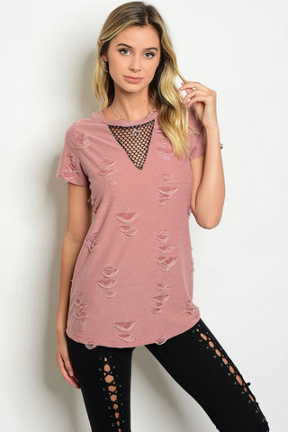 Blush Distressed and Mesh Top