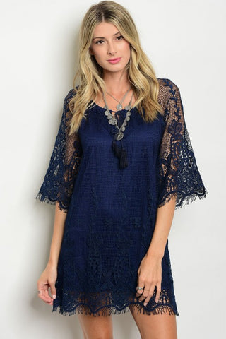 Lots of Lace Navy Dress