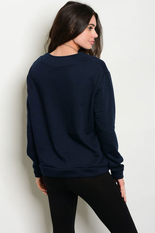 Navy Lace-Up Sweatshirt