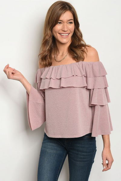 Marvelous in Mauve Cold Shoulder Top