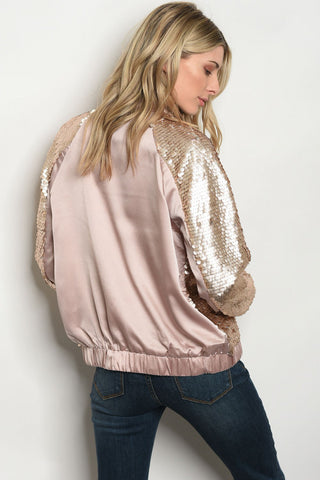 Glitzy Gold Bomber Jacket