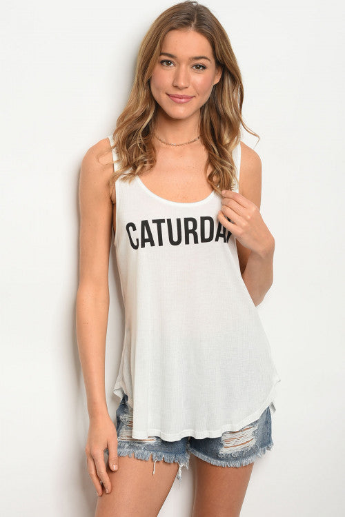 """CATURDAY"" Graphic Tank"