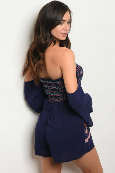 Neat in Navy Romper