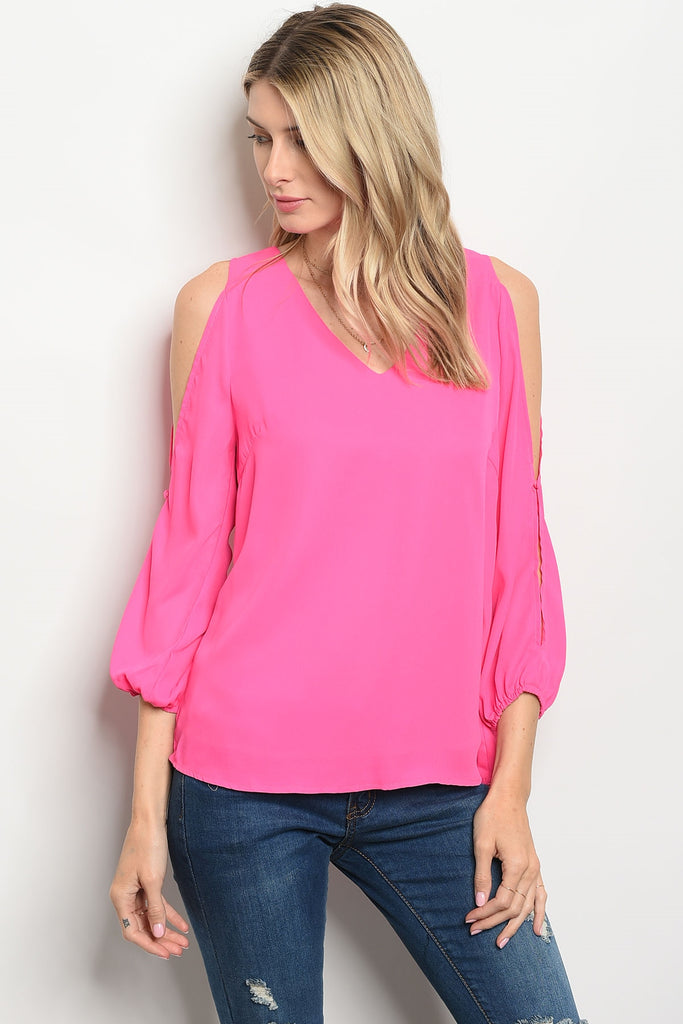 Hot in Pink Cold Shoulder Top