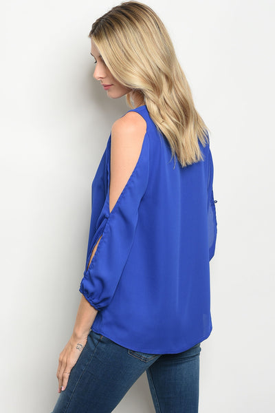 Best in Blue Cold Shoulder Top